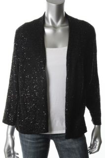Eileen Fisher New Black Silk Sequined Long Sleeves Cardigan Sweater