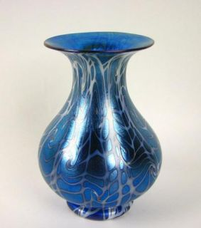 Durand Blue and White iridescent King Tut Pattern Art Glass Vase