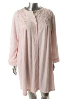 Miss Elaine New Pink Terry Cloth Long Sleeve Snap Front Long Robe Plus