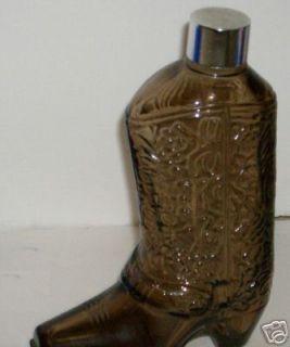 Avon Wild Country Brown Glass Cowboy Boot Bottle