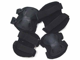 SWAT x Cap Airsoft Paintball Knee Elbow Pads Black BK