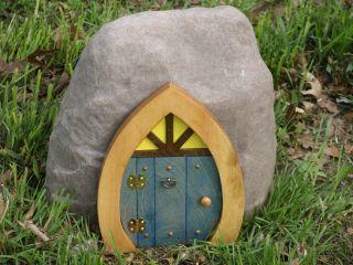 Blue Crown Top Opening Gnome Hobbit Pixie Fairy Elf Door OOAK