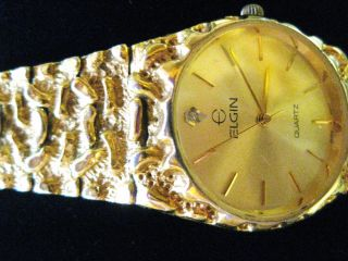 Vintage Elgin Mens Gold Nugget Diamond Quartz Watch