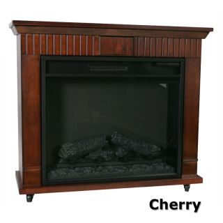 Cherry Electric Flame Fireplace Portable Heater Wood