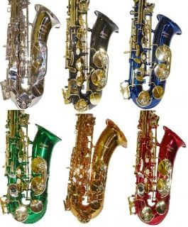 New EB Black Red Green Gold Blue Silver Alto Saxophone with Case