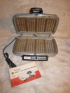 Vintage GE General Electric Chrome Waffle Maker Iron Grill 34G42