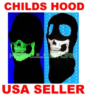Child Kids Skull Ski Mask Glow in The Dark MW2 Cod Ghost Youth 2 Hole