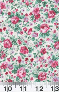 Fabric Concord Floral Wild Rose Calico Ivory White Pink Red