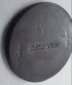 Large Cent Penny Made Into Hard Time Token Stamped  C C Dyer