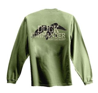 New Duck Commander Duck Dynasty Logo Moss Hunt Eat Sleep Long Sleeve T