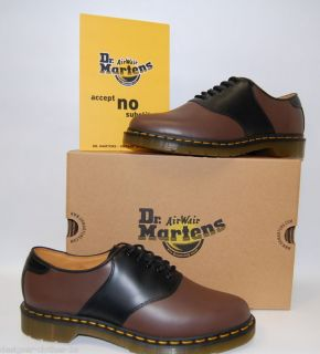 Dr Doc Martens 2 Colour 1461 Rafi Brown Black Leather Saddle Shoes New