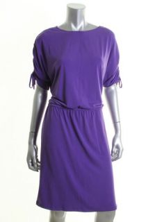 Ellen Tracy Toast Of The Town Purple Cinched Jersey Wear To Work Dress