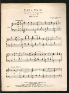 Dark Eyes 1932 Al Jolson Song Piano Solo Sheet Music