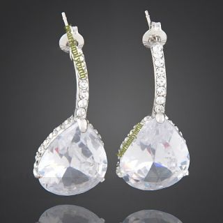 18K White Gold GP Swarovski Crystal Elegant Earrings E22