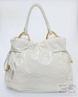 Elliott Lucca Cream Patent Leather Braided Drawstring Tote Bag