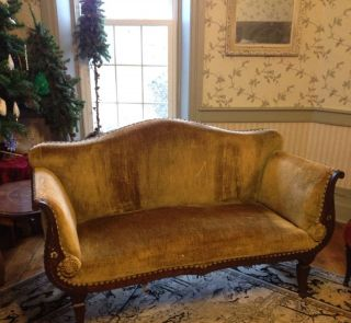 Victorian Antique Sofa And Chair With Mother Of Pearl Inlays