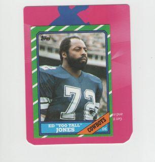 Ed Too Tall Jones Dallas Cowboys 3 Time Pro Bowler 1986 Topps Card