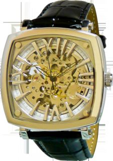 New Adee Kaye Mens Skeleton Two Tone Gold Dial Black Leather Band