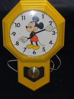 Walt Disney Mickey Mouse Pendulum Wall Clock Welby by Elgin