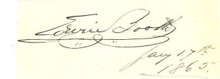 Edwin Booth RARE 1865 Autograph Hundred Nights Hamlet Assassination