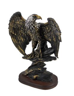 Finished Perched American Bald Eagle Statue Hand Painted Accents