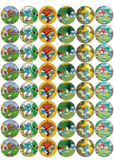 48 Smurfs Edible Cupcake Toppers Rice Paper