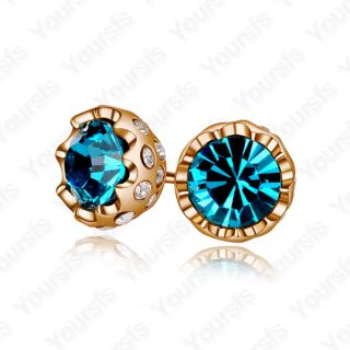 18K Gold Plated Ear Pin Use Swarovski Crystal Ladylike Studs Earring