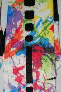 Nike Elite Basketball Socks Rainbow Paint Splatter Custom Large 8 12