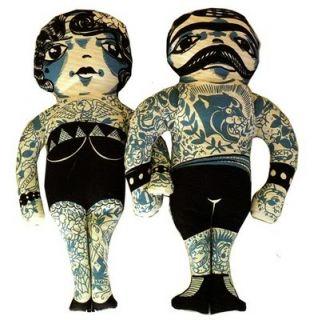 Tattoo Doll MS Edith Art Deco Tattooed Lady Flapper Punk Spitfire Girl