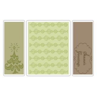 Brand New Sizzix Embossing Folders Set SEASONS GREETINGS 656986