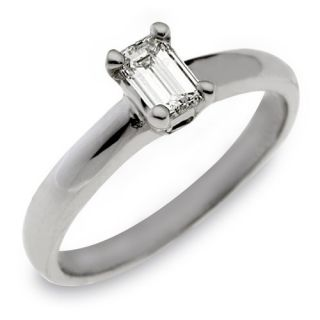 Womens Solitaire Emerald Cut Diamond Engagement Ring White Gold