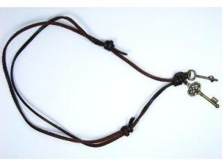 Brown Genuine Leather Eiffel Tower Key Postol Music Necklace