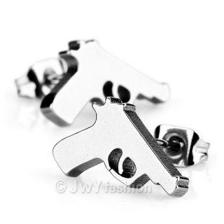 Stainless Steel Stud Earrings Men Unisex Silver Gun Pistol VP117