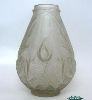 Art Nouveau Etling Glass Vase M Perron France CA 1920