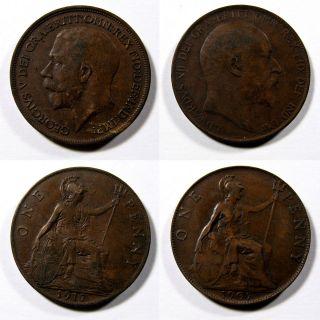 LOT of 2 Coins 1907 Edward VII 1917 George V UK LARGE ONE PENNY