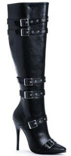 Ellie Shoes Knee High Boot Buckle Inner Zipper 5 Heel Black PU 516