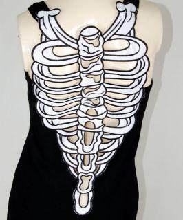 Sexy Skeleton Ribcage Punk Goth Emo Tank Top Singlet Dress L