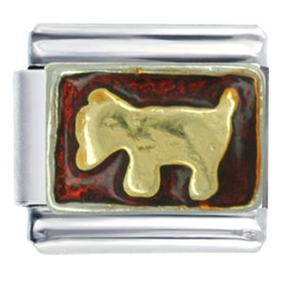 PUGSTER 9MM ITALIAN CHARMS GOLDEN DOG PETS ANIMAL JULY Z66