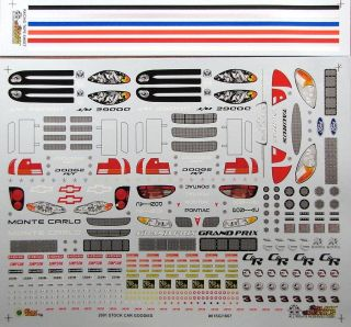 Slixx 2001 NASCAR Stock Car Goodies Decal Sheet
