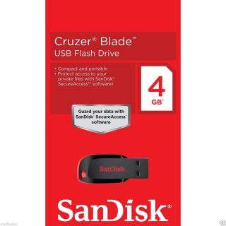 SanDisk Cruzer Blade USB Flash Drive 4 GB Secure Access Compact Small
