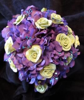 Deco Clay wedding bouquet, matching grooms boutonniere,with roses