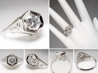 Carat Diamond Filigree Engagement Ring Solid 14K White Gold Estate