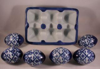 Blue White Willow Ceramic Eggs with Ceramic Crate Carton Container