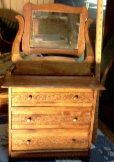 Antique Victorian Childs Doll Dresser w Mirror Salesmans Sample