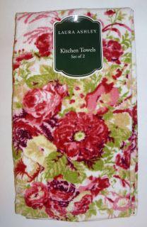 LAURA ASHLEY Set of 2 Pink English Rose Floral Print Kitchen Towels 16
