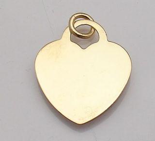 Engravable Heart Charm Pendant Jump Ring 14k Gold Yello