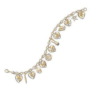 Teachers Heart Engraved Charm Bracelet Thank You Gift for
