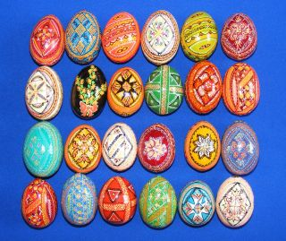 24 Wooden Ukrainian Pysanky Easter Painted Eggs