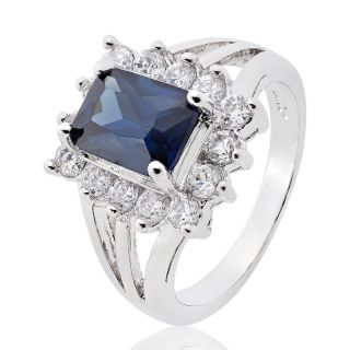 Emerald Cut Royal Blue Sapphire Topaz Ring Jewellery 7 O 1027BLU7