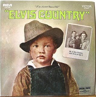 ELVIS PRESLEY Elvis Country 1971 lp VG+/NM sticker + post card